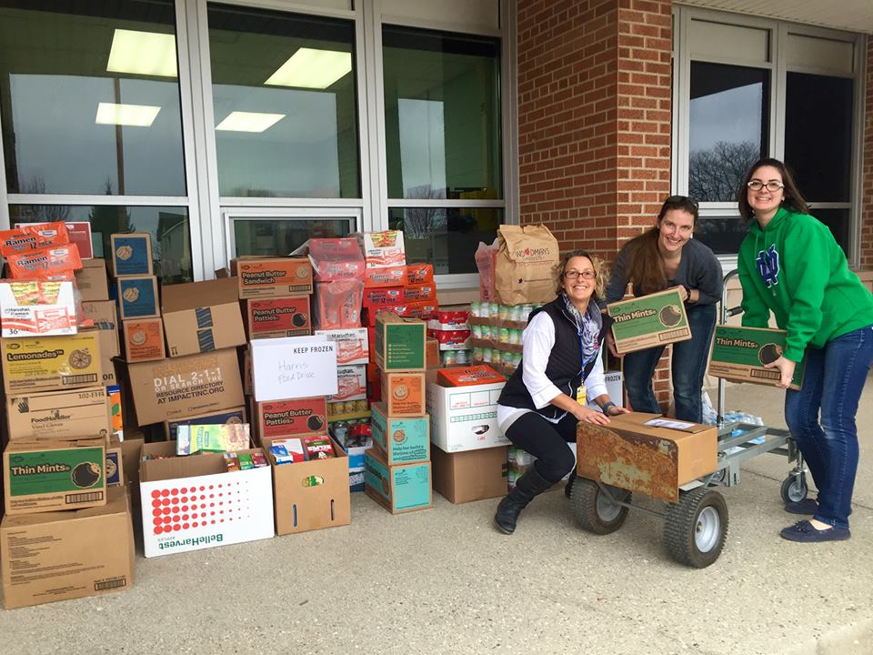 PTO members helping out with the food drive