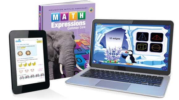 Image of Math Expressions textbook, tablet and computer